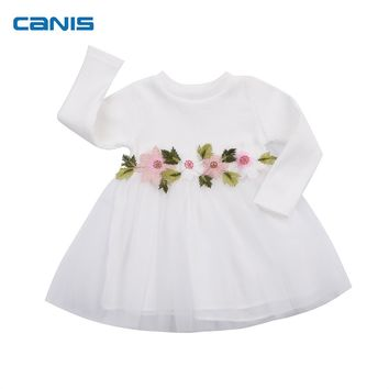 Sweet Girl Party Pageant Tutu Flower Sleeve Mini Cute Dress 3 Colors Lovely Long Sleeve Toddler Kids Baby Girls Clothes Dresses