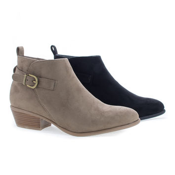 Manny24 Taupe F-Suede by Wild Diva, Almond Toe Stacked Heel Ankle Boots