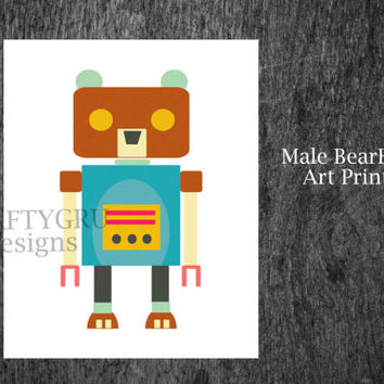 BearBot: Bear Robot Print, Nursery Art Print, Nursery Decor, Children Room, Baby Shower Gift, Instant Printable, Children Wall Art download