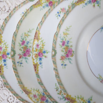 Floral China Dinner Plates. Black Knight China Leonora Pattern. Shabby Chic Dishes Dinnerware & Floral China Dinner Plates. Black Knight from DorothyAndCleo on