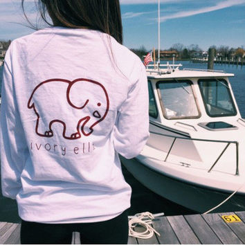 SIMPLE - Fashionable Ivory Ella Cartoon Elephant Women Long Sleeve Top T-shirt b2020