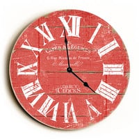 Dark Red French Style Unique Wall Clock by Dickery Dock
