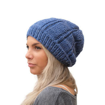 Slouchy Knit hat / Women knit hat in Mid Blue / Slouchy Beanie hat / Winter Hat /  Fashion Hat