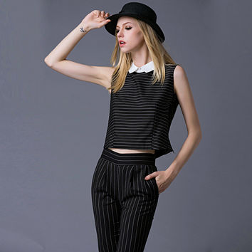 Black Striped Sleeveless and Pants