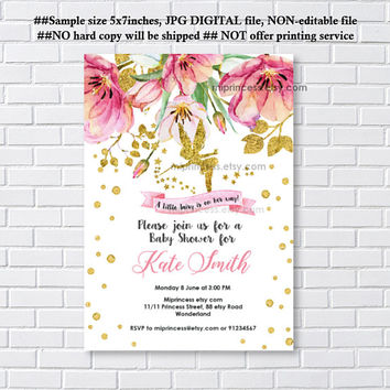 Fairy Baby Shower Invitation Baby birthday invite, fairy girl Shower Invite party Invitation, baby girl shower, - card 1246