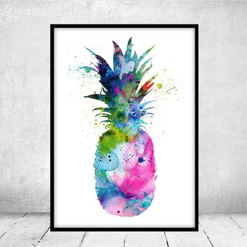 Pineapple Watercolor Art Print, Fruit Watercolor Art Painting, Pineapple Poster, Kitchen Decor, Home Decor, House Warming Gift -112