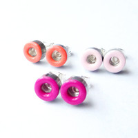 Color Block Earrings. Coral Red, Purple and Light Pink Stud Earrings. Upcycled Jewelry. Industrial Chic. Everyday Earrings.