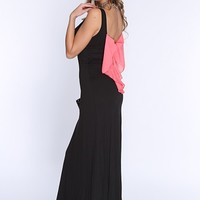 Black Coral Bow Accent Sexy Maxi Dress