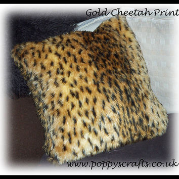 Soft Gold and Black cheetah spot animal print Faux fur fluffy fuzzy furry Cushion 16 x 16 Inches ideal for car home or pet