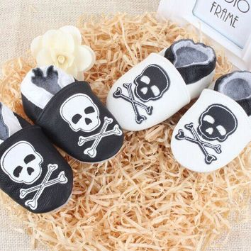 Handmade Black & White Soft Leather Skull Punk Rock Infant Toddler Shoes