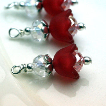 Red Baby Bell Lucite Flower Bead Dangle Charm Drop Set - 4 Piece Set