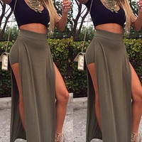 Black Short Sleeve Crop Top with Army Green High-Waisted High Slit Skirt