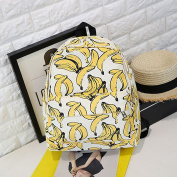 Banana Printed Lightweight Canvas Backpack