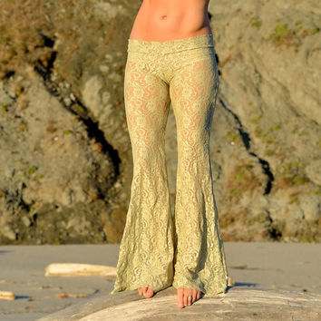 floral stretch shimmer lace beach boho dance resort yoga festival burning man gypsy flare bell bottom pants or leggings