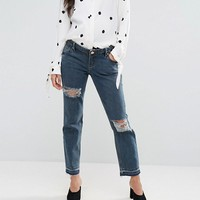 ASOS MATERNITY KIMMI Shrunken Boyfriend Jeans in Rachel wash with Rips and Let Down Hem With Over The Bump Waistband at asos.com