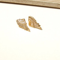 Angel wings earrings, Gold earrings, vintage earrings, Bridal earrings, Bridesmaid gold earrings,art deco studs