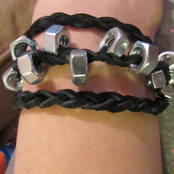 Industrial Style Steampunk Hexagon Hex Nut Bracelet, Genuine Suede Lace Black Leather, 1/4 inch 1/2 inch available