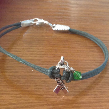 Teal Green Awareness Ribbon Bracelet - Ovarian Cancer - Sexual Abuse - Stress Disorder- Anxiety Disorder - Polycystic Ovarian