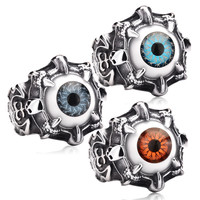 Super Vivid Eye Ring 316L Stainless Steel Fashion Biker Punk Ring Acrylic Eye BR8-036 US size