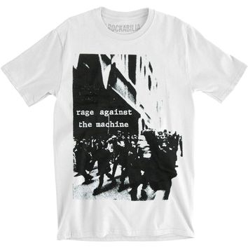 Rage Against The Machine Men's  Riot White Slim Fit Slim Fit T-shirt White