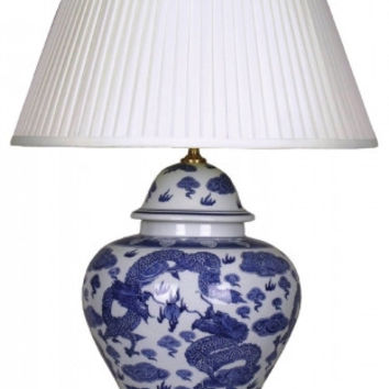 Pair of Chinese Table Lamps with Shades - Blue Dragons