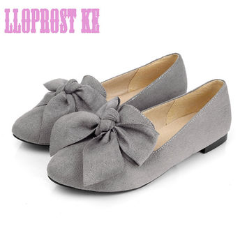 Lloprost ke Spring 2017 Concise Bowtie Suede Women Shoes Causal Vintage Boat Shoes Women Slip on Red Women Loafers Shoes JT208
