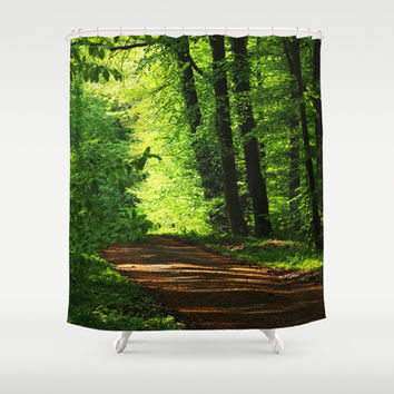 Come we go in the green forest Shower Curtain by Tanja Riedel