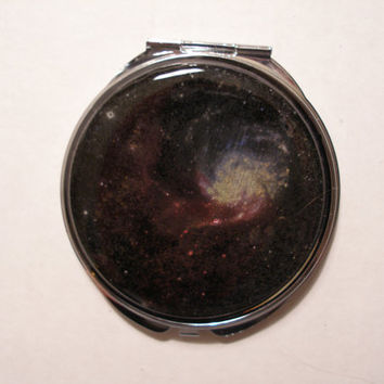 galaxy hand painted OOAK  engraved galaxy mirror compact