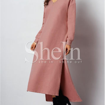 Pink Long Sleeve High Split Long Maxi Dress