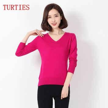 New Spring and Autumn women's Cashmere Blending Knit PulloverV-neck long-sleeved Wool knit Sweater bottoming Slim loose Sweaters