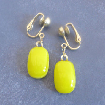 Yellow Clipon Earring Fused Glass Clip On Earings by mysassyglass