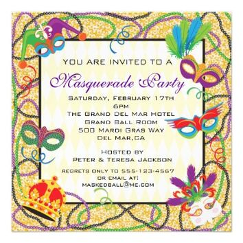 Golden beaded Masquerade Party Invitations from Zazzle.com