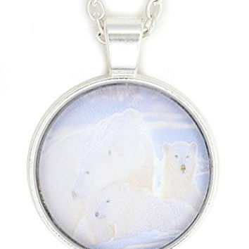 Polar Bear and Cubs Necklace Silver Tone NW18 Nature Art Print Pendant Fashion Jewelry