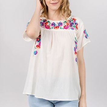 Cream Floral Embroidered Short Sleeve Top