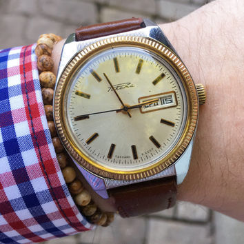 Vintage Raketa day date mens watch, vintage russian watch, vintage mens watch