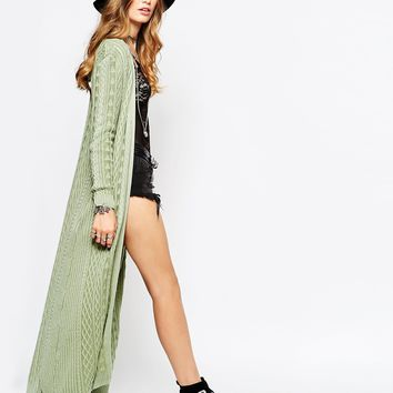Somedays Lovin Cable Knit Maxi Cardigan at asos.com
