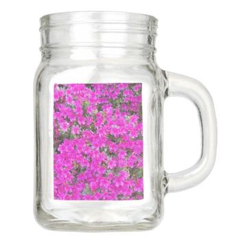 Pink Rhododendron Blossoms Floral Mason Jar