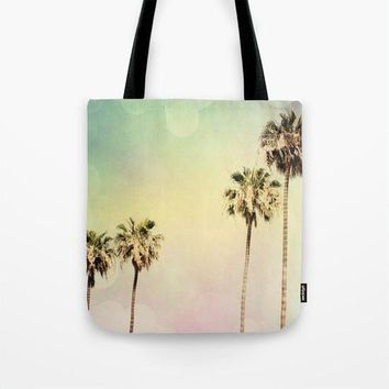 Art Tote Bag Palm Trees 2 fine art photography Summer Fashion Beach pastel pink mint green yellow Aqua Blue Modern California