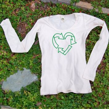 Recycle tshirt - Valentine Day Love to Recycle Womens organic cotton Scoop neck tee Earth Day