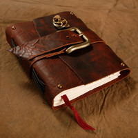 SteamPunk Leather Journal   Belt closure  Brown  by Twisted2011