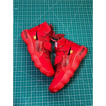 Off White X Nike React Hyperdunk Ow Red Sport Basketball Shoes