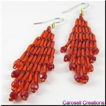 Bugle Girl Native American Style Beadwork Dangle Chandelier Seed Bead Earrings in Red