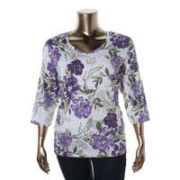 Karen Scott Womens Plus Floral Print Long Sleeves Casual Top
