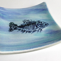 Streaky Blue Fused Glass Fish Plate by BPRDesigns