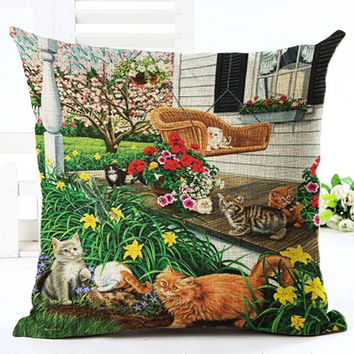 A Box of Litter Kittens Cat Lovers Throw Cushion Covers Feline Lovers Pillow Case Gift Set Country Garden Style ( 9 Designs)