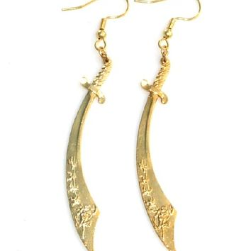Gold sword earrings