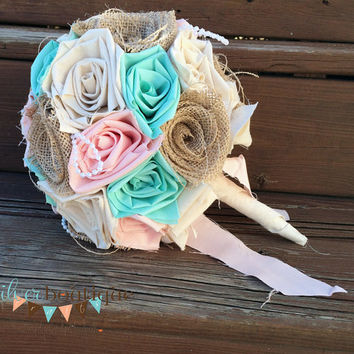 Burlap Bouquet, Wedding Bouquet, Peach and Mint Bouquet, Wedding, Peach, Bride, Rustic Wedding, Country Wedding, Burlap Bouquet Wrap, Favor
