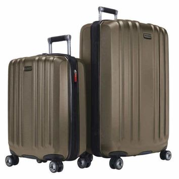 $560 Ricardo Beverly Hill Mulholland Hard Expandble Spinner 2 PC Luggage Set