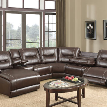 6 pc Chatanooga collection brown leather gel upholstery sectional sofa with chaise and recliners