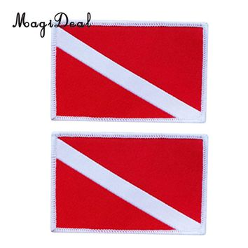 MagiDeal 2 Pcs Diver Down Flag Patch Patches Backpack Vest Bag Badge Scuba Diving Dive Sew On Embroidered